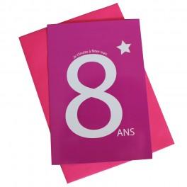 cartes invitation 8 ans rose - Anniversaire 8 Ans