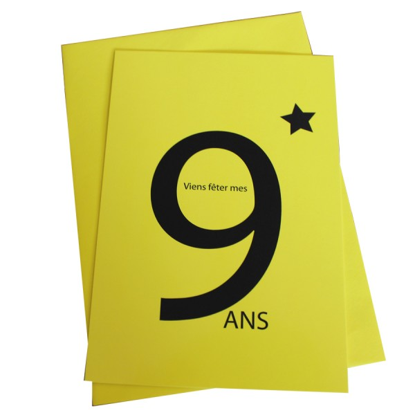 cartes invitation 9 ans jaune cause de toi. Black Bedroom Furniture Sets. Home Design Ideas