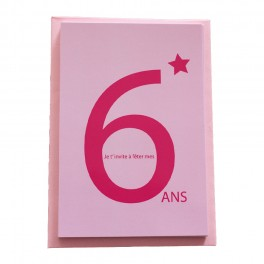 CARTES INVITATION 6 ANS ROSE
