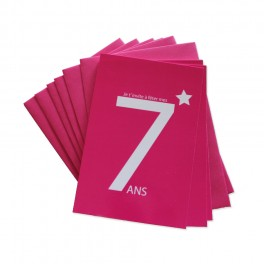 CARTES INVITATION 7 ANS ROSE
