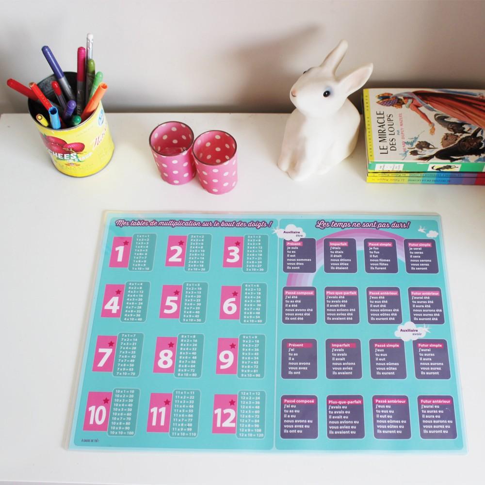 Sous main educatif rose conjugaison tables de for Multiplication enfant